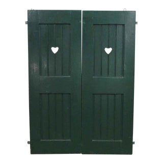 Green Heart Cut-Out Shutter Doors - A Pair