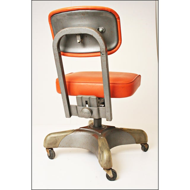 Vintage Orange Industrial Steel Office Chair - Image 9 of 11