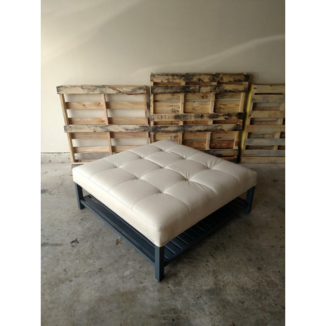 Gambrell Renard Tufted Leather Austin Ottoman With Trays - Image 4 of 5