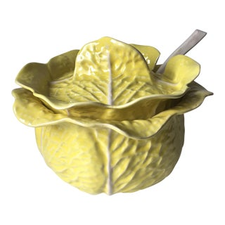 Cabbage Leaf Majolica Soup Tureen