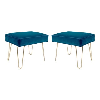 Petite Brass Hairpin Ottomans in Indigo Velvet by Montage - Pair