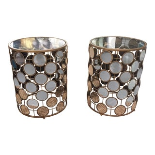 Hollywood Regency Style Mirrored Metal Circle Side Tables - Pair