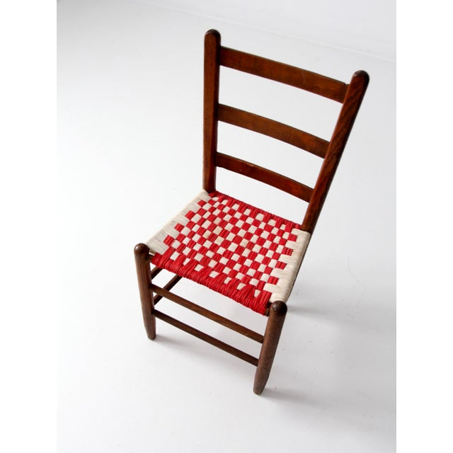 Antique Ladder Back Upholstered Seat Chair - Image 4 of 8
