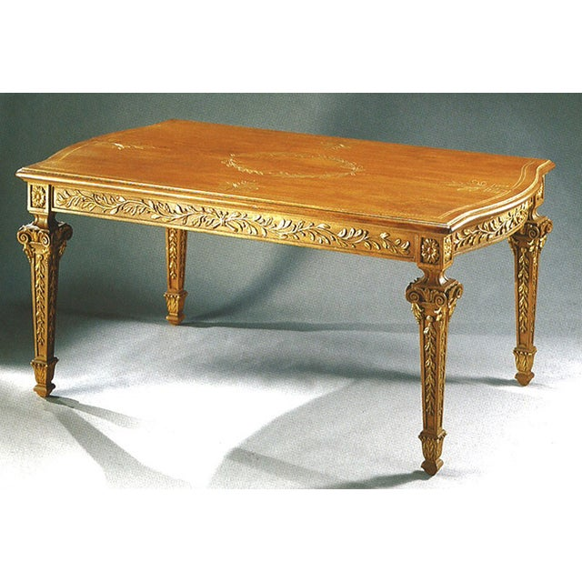 dining table 6 seats hand carved and decorated wood almond and gold
