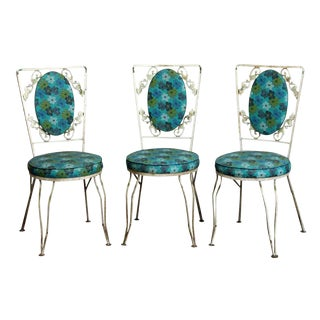 Vintage Blue Floral Patio Chairs - Set of 3