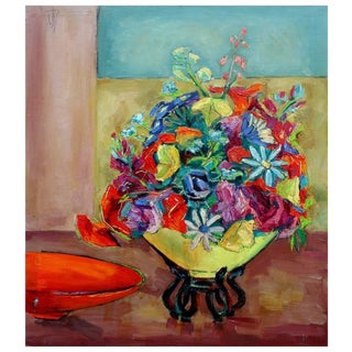 Yellow Vase of Flowers Still Life Painting