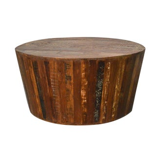 Rustic Reclaimed Barrel Coffee Table