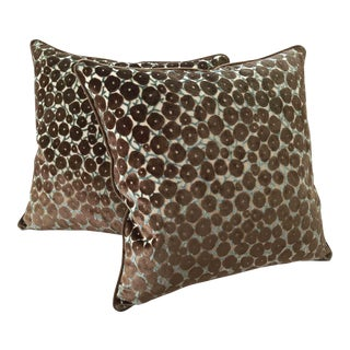 """Trocadero"" Silk Cut Velvet Designer Pillows -A Pair"