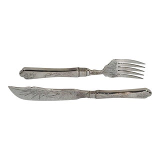 Chinese Export Silver Fish Fork & Knife - A Pair