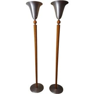 Marbro Art Deco Spun Aluminum Torcheres - A Pair