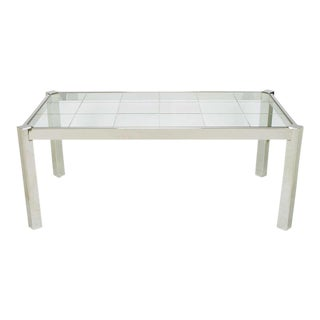 DIA Chrome & Incised Glass Canted Leg Dining Table