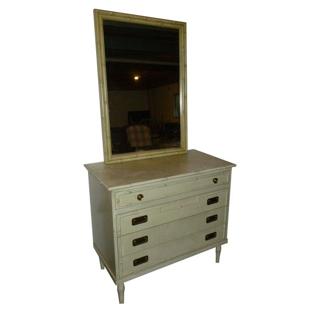 Image of Hollywood Regency Faux Bamboo Dresser With Mirror