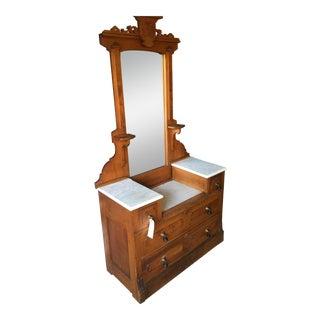 Oak Marble Top Dresser & Mirror