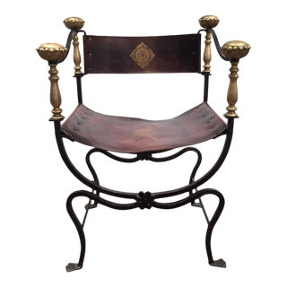 Pair of 19th Century Italian Campaign Wrought Iron Chairs With Original Leather
