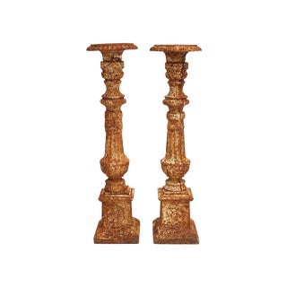 Industrial Iron Candle Holders - Pair