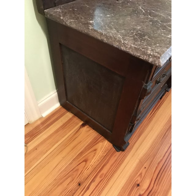Walnut Renaissance Revival Vanity Dresser with Marble Top - Image 8 of 11