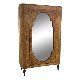 Art Deco Burl Wood Armoire Wardrobe With Mirror