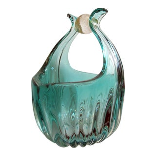 A Shimmering Murano Mid-Century Aqua Marine Ribbed Art Glass Basket