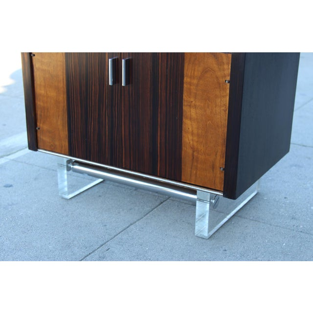 Mid-Century Wooden Nightstand on Lucite Base - Image 7 of 11