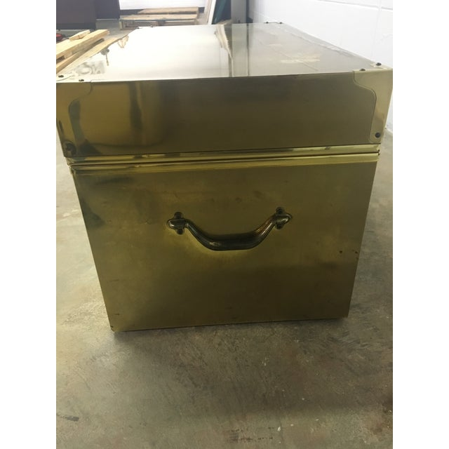 Image of Dresher Cedar Lined Brass Trunk With Glass Top