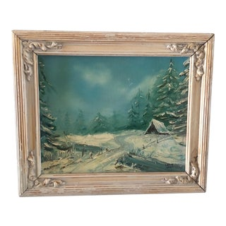 Vintage Winter Landscape Painting