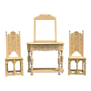 Vintage Jacobean Renaissance Revival Carved Oak Hall Console Table, Mirror, & Side Chairs - Set of 3