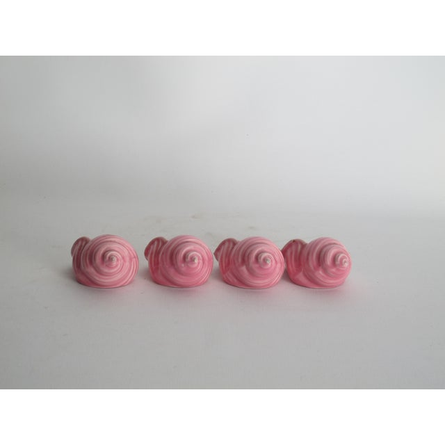 Pink Ceramic Shell Napkin Rings - Set of 4 - Image 4 of 5