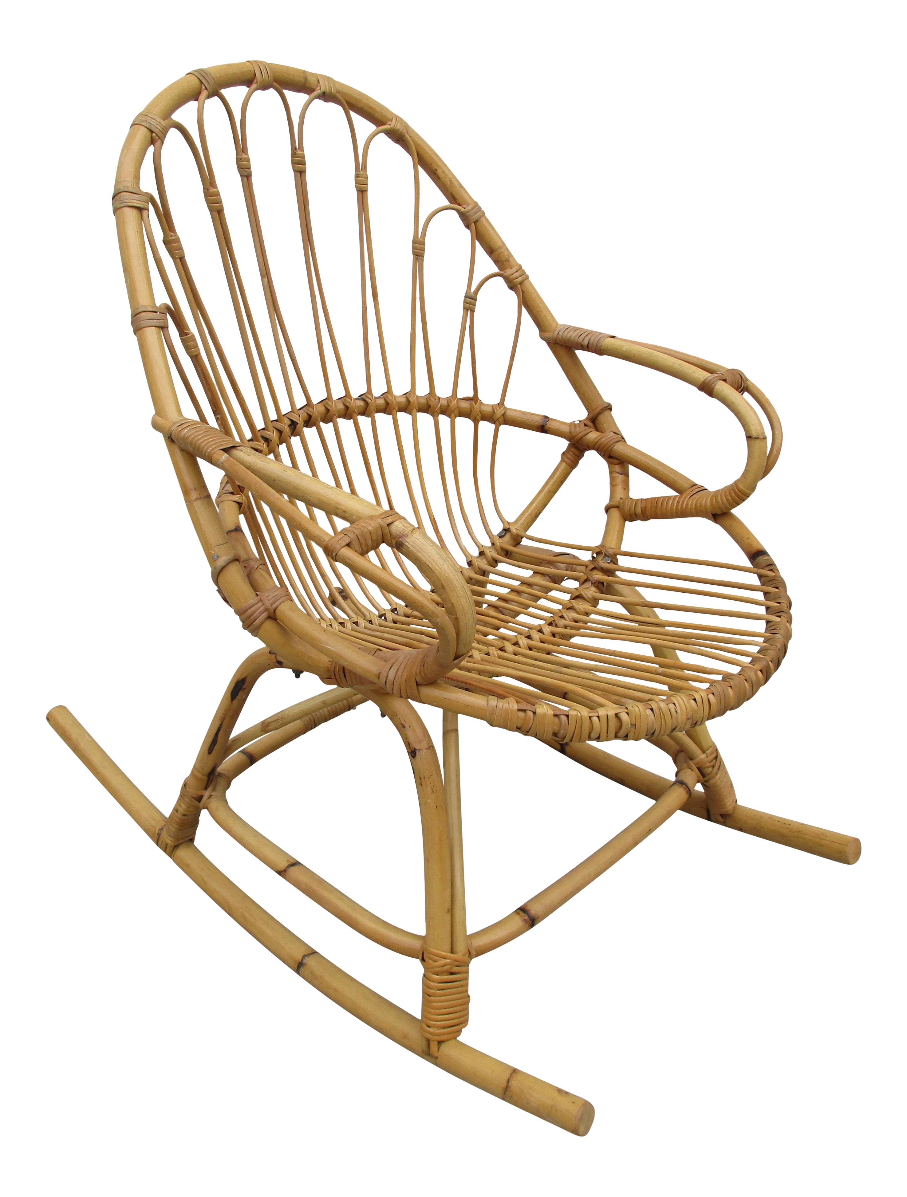 bamboo and wicker rocking chair