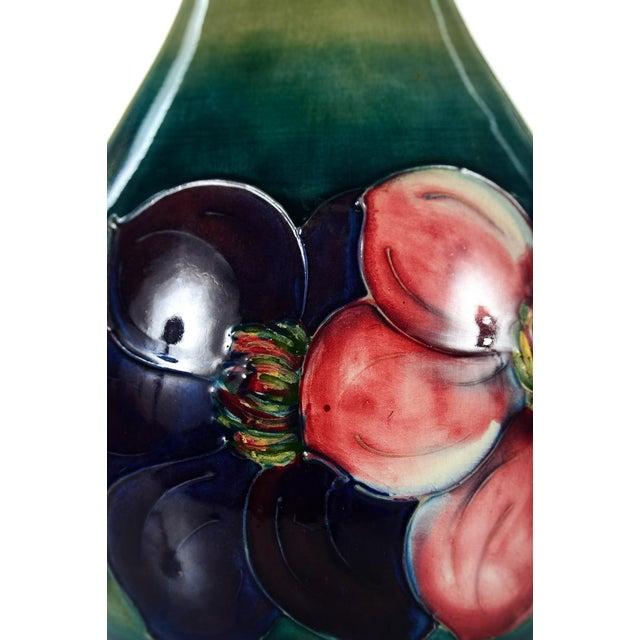 Moorcroft Green & Red Flowers Pottery Art Vase - Image 3 of 7