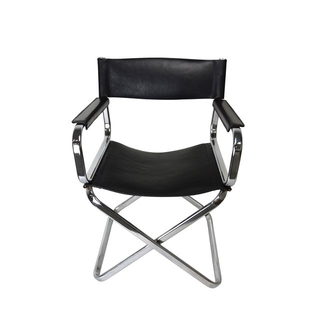 Italian Leather And Chrome Director's Chair - Image 2 of 5