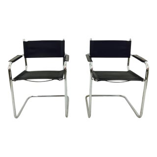 Mart Stam S34 Chrome & Black Leather Chairs - Pair