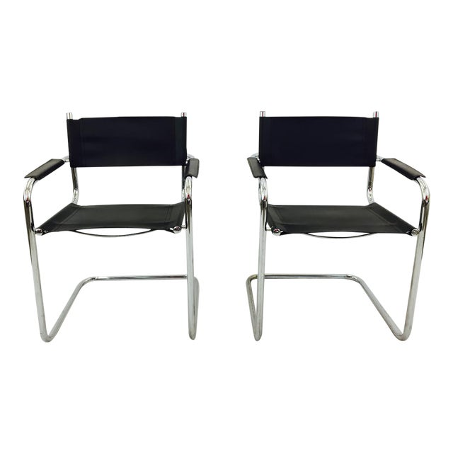 mart stam s34 chrome black leather chairs pair chairish. Black Bedroom Furniture Sets. Home Design Ideas