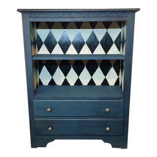 Solid Pine Painted Blue With Harlequin Interior Cabinet