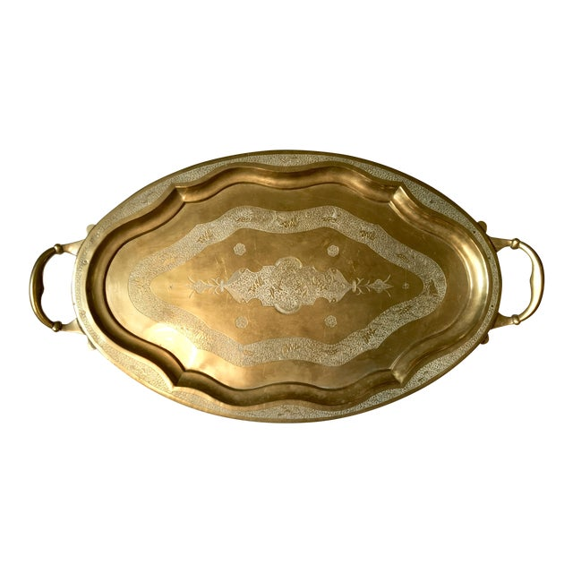 Vintage Chinese Brass Tray With Animal Etchings - Image 1 of 6