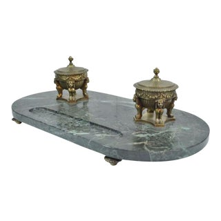 Antique French Empire Style Figural Bronze Green Marble Double Inkwell