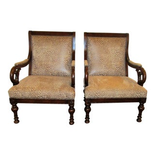 Leopard Print Accent Chairs - A Pair
