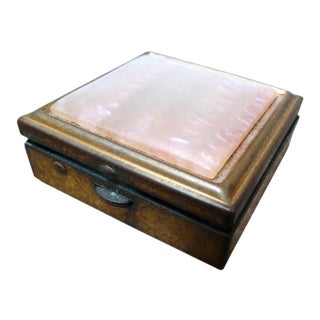 Vintage Brass & Mother of Pearl Pill Box