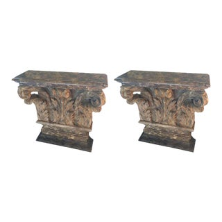 Antique Carved Wood French Consoles - A Pair