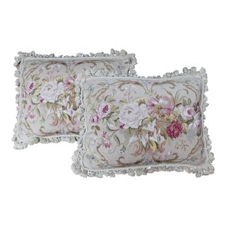 Vintage Floral Needlepoint Pillows - A Pair