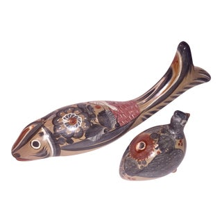 Fish & Bird Mexican Tonala Sculptures - A Pair