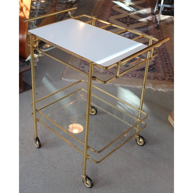 Vintage Mid-Century Brass and Glass Bar Cart - Image 4 of 9