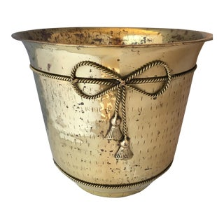 Hammered Brass Tassel Planter