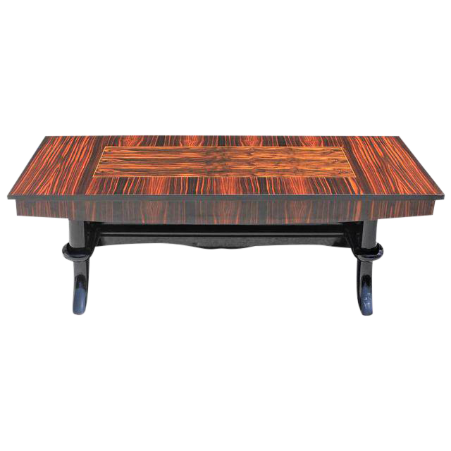 Grand Scale French Art Deco Exotic Macassar Ebony Coffee / Cocktail Table,  1940s