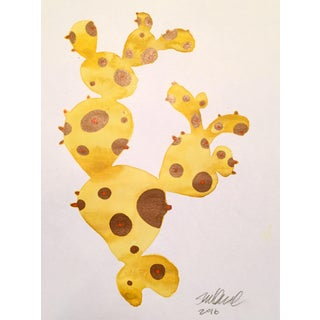 "Contemporary ""Yellow Cactus"" Watercolor Painting"