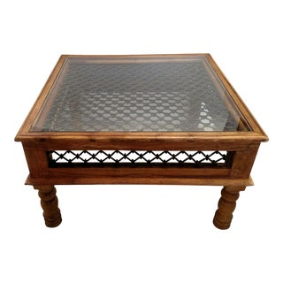 Vintage Wrought Iron/Wood Cocktail Table