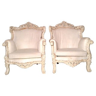Hand-Carved Bergère Chair - Pair