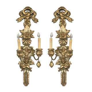 Gilded Two Light Sconces- A Pair