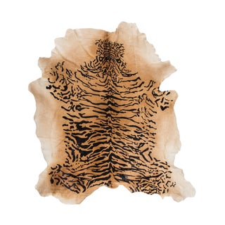 Exotic Siberian Tiger Print Cowhide Rug | Made in Italy | Double XL | 8 ft x 98 ft