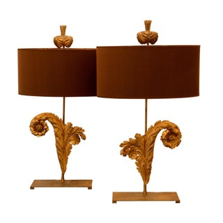 French Acanthus Leaf Lamps - A Pair