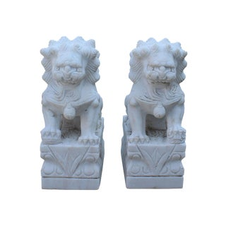 Chinese Small Distressed Off White Marble Stone Fengshui Foo Dogs Statues - a Pair